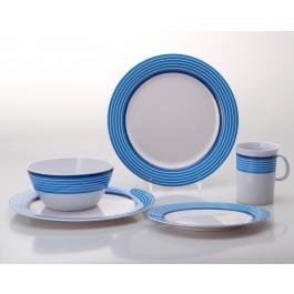 Gimex Melamin Geschirr Set Trendline Blau